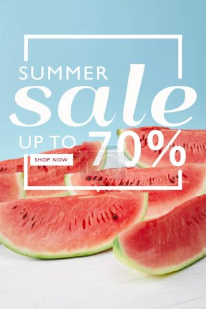 sweet watermelon slices with summer sale and discount symbol