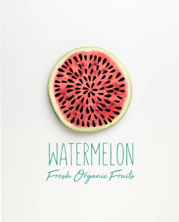 "top view of fresh watermelon slice with seeds illustration and ""watermelon fresh organic fruits"" lettering"