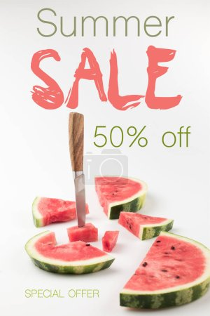 fresh watermelon slices with knife isolated on white with summer sale lettering