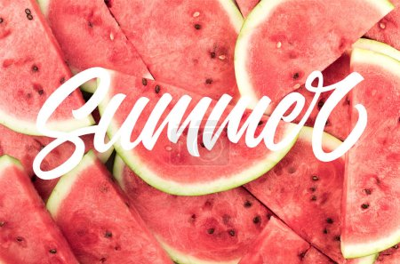 """top view of fresh watermelon slices background, with """"summer"""" lettering"""