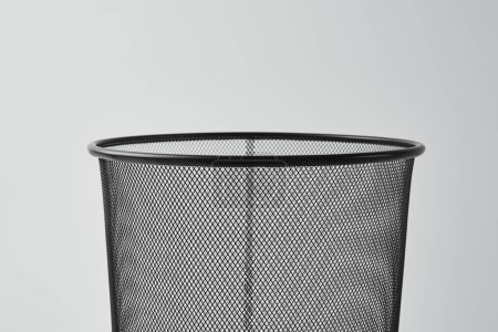 close-up shot of office trash can isolated on white