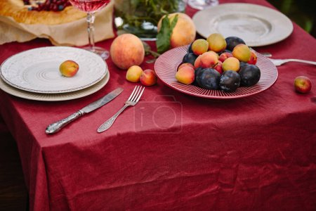 Photo for Fruits, plates and utensils on table in garden - Royalty Free Image
