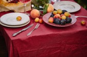 fruits, plates and utensils on table in garden
