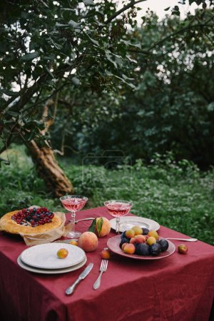 plate with plums, wine and pie on table in garden
