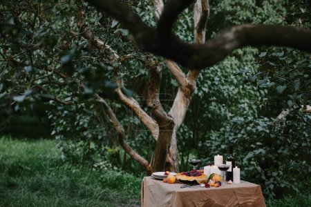 candles, wine and berries pie on table in garden