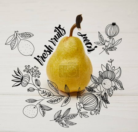 "one juicy pear on wooden background with floral illustration ""Fresh fruits - pear"" lettering"