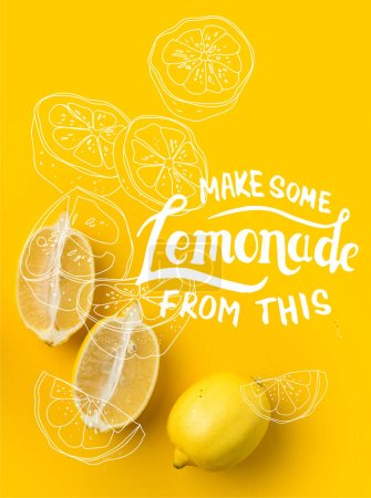 "Two halves of lemon and single lemon isolated on yellow with ""Make some Lemonade from this"" lettering and illustration"