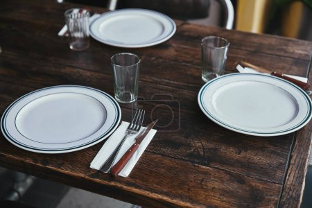 Photo for Close-up shot of simple table setting at restaurant - Royalty Free Image