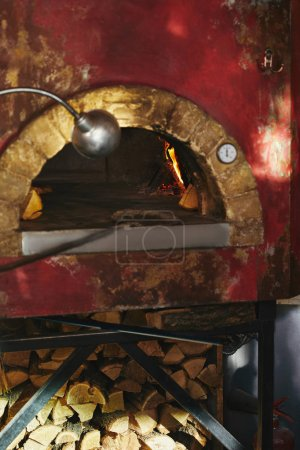 close-up shot of masonry oven at restaurant kitchen
