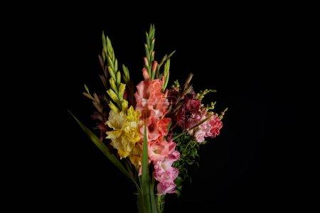 Photo pour Bouquet de belles fleurs de gladioli rose, rouge, jaune et violet isolé sur fond noir - image libre de droit