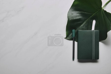 Green notebook with pen on white marble background with monstera leaf