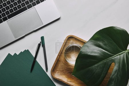 Laptop and green paper by wooden tray with water and monstera leaf on white marble background