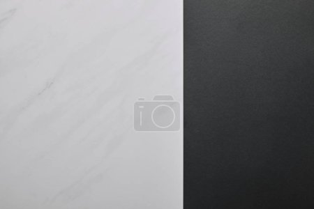 Photo for Blank black paper on white marble background - Royalty Free Image