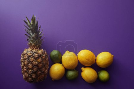 top view of pineapple, lemons and limes on violet surface