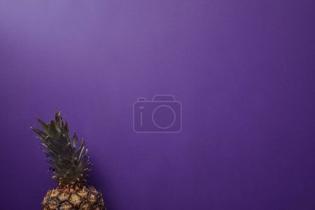 elevated view of ripe pineapple on violet surface