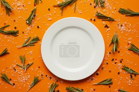 top view of empty round white plate, rosemary, salt and peppercorns on orange