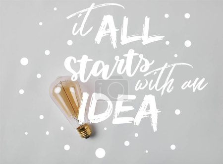 """vintage incandescent lamp on white surface with """"it all starts with an idea"""" inspiration"""