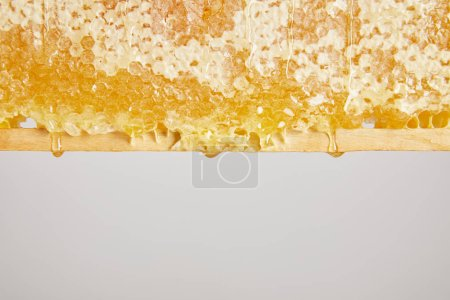close up view of organic beeswax on grey background