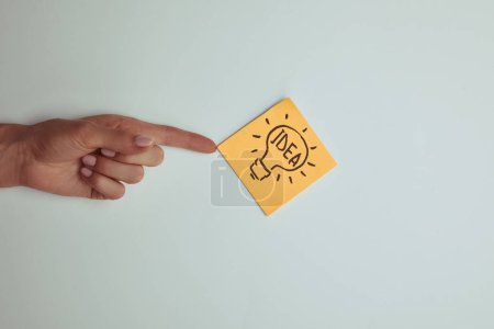 cropped image of woman pointing on paper sticker with word idea in lightbulb isolated on white