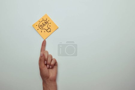 cropped image of girl pointing on note paper with word idea in lightbulb isolated on white