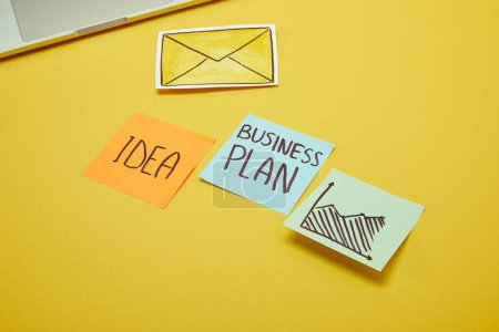 paper stickers with words, idea and business plan on yellow surface