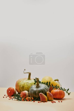 Photo for Autumnal decoration with pumpkins, green leaves, pears and firethorn berries on beige surface - Royalty Free Image