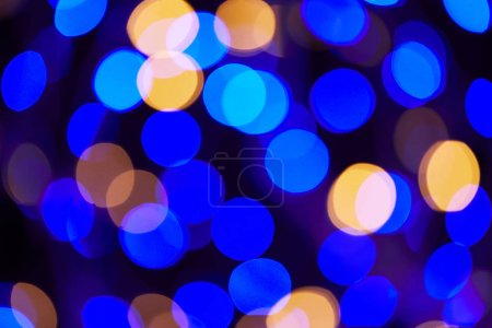 bright blue and golden bokeh christmas background