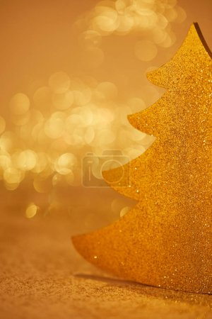 close up of golden glittering christmas tree for decoration