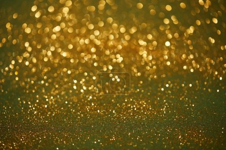 Photo for Golden and green bokeh christmas background with shiny glitter - Royalty Free Image