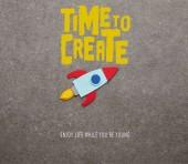"""Постер, картина, фотообои """"красочные ручной ракета на сером фоне с «время для создания» вдохновение"""""""
