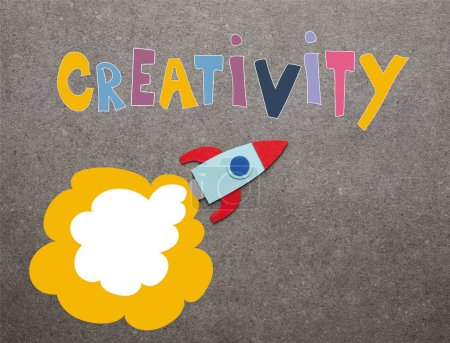 "Photo for Colorful handmade rocket on gray background with ""creativity"" inspiration - Royalty Free Image"