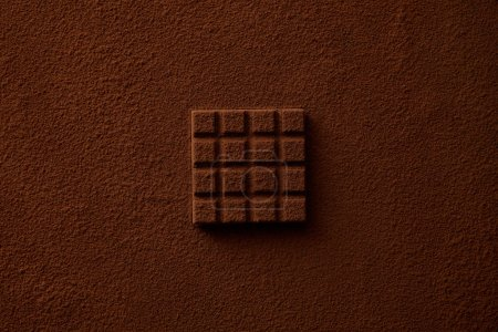 top view of sweet gourmet chocolate and cocoa powder