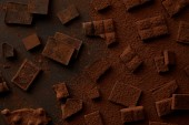 top view of gourmet chocolate pieces and cocoa powder