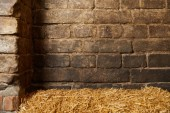 rustic old brick wall and straw for background