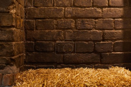 Photo for Rustic brick wall and straw for background - Royalty Free Image