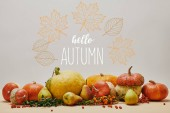 autumnal decoration with pumpkins, firethorn berries and ripe yummy pears on tabletop with HELLO AUTUMN lettering