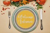 top view of plates and pumpkins with firethorn berries on thanksgiving table  with WELCOME AUTUMN lettering