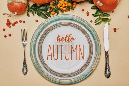 Foto de Vista superior de las placas y calabazas con bayas de Espino de fuego sobre la mesa de acción de gracias con letras Hola otoño - Imagen libre de derechos