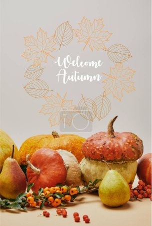 autumnal decoration with pumpkins, firethorn berries and ripe yummy pears on tabletop with WELCOME AUTUMN lettering