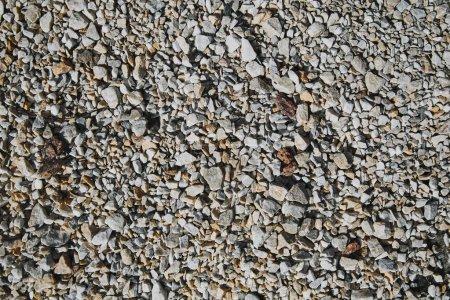 top view of textured pebble stones ground