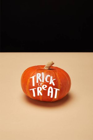 """one orange striped pumpkin on table with """"trick or treat"""" halloween lettering"""