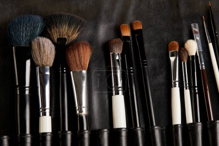 top view of leather holder with professional makeup brushes