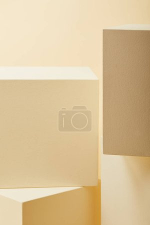 close-up shot of beige cubes in various sizes