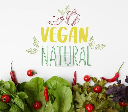 "Photo for Top view of fresh various leaf vegetables with tomatoes and peppers on white surface with ""vegan natural"" lettering - Royalty Free Image"