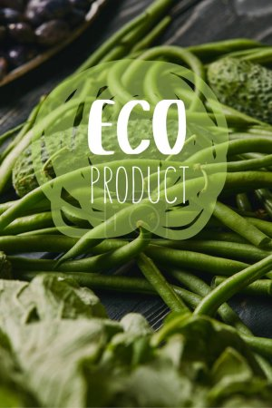 "Cucumber and green beans with ""eco product"" lettering"