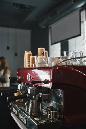 professional coffee machine with tools in coffeehouse