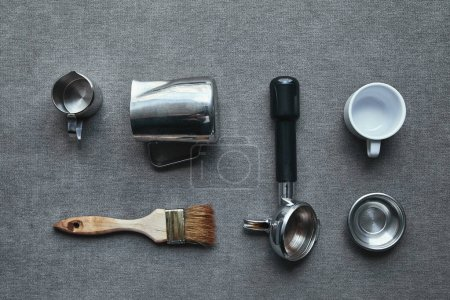 Photo for Top view of professional tools for preparing coffee on grey - Royalty Free Image