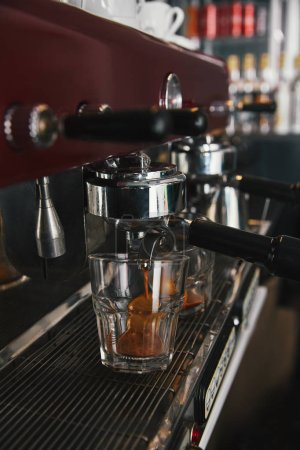 close-up view of coffee machine preparing espresso