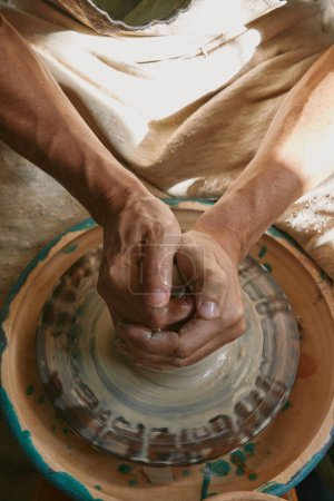 partial view of professional potter