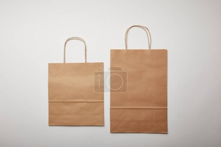 elevated view of food delivery paper bags on white surface, minimalistic concept